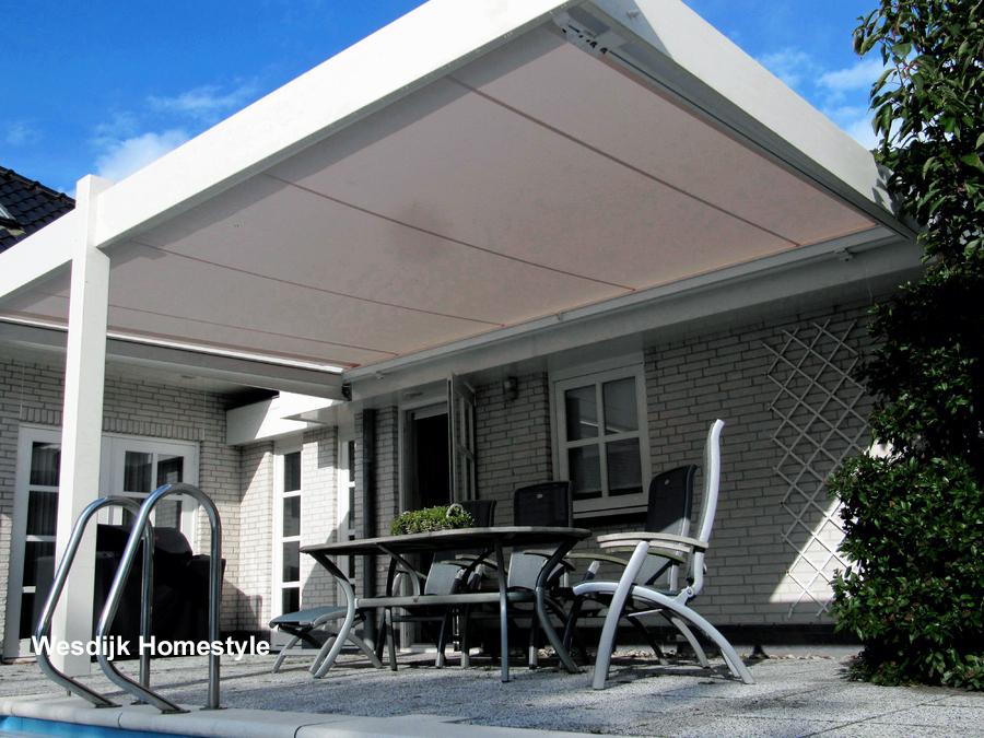 Terras zonwering doek terras zonwering specialist - Aluminium pergola met schuifdeksel ...